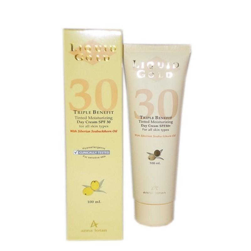 """Увлажняющий дневной солнцезащитный с SPF 30 """"Золотой"""" / Liquid Gold Triple Benefit Tinted Moisturizing Day Cream SPF30 100 мл"""